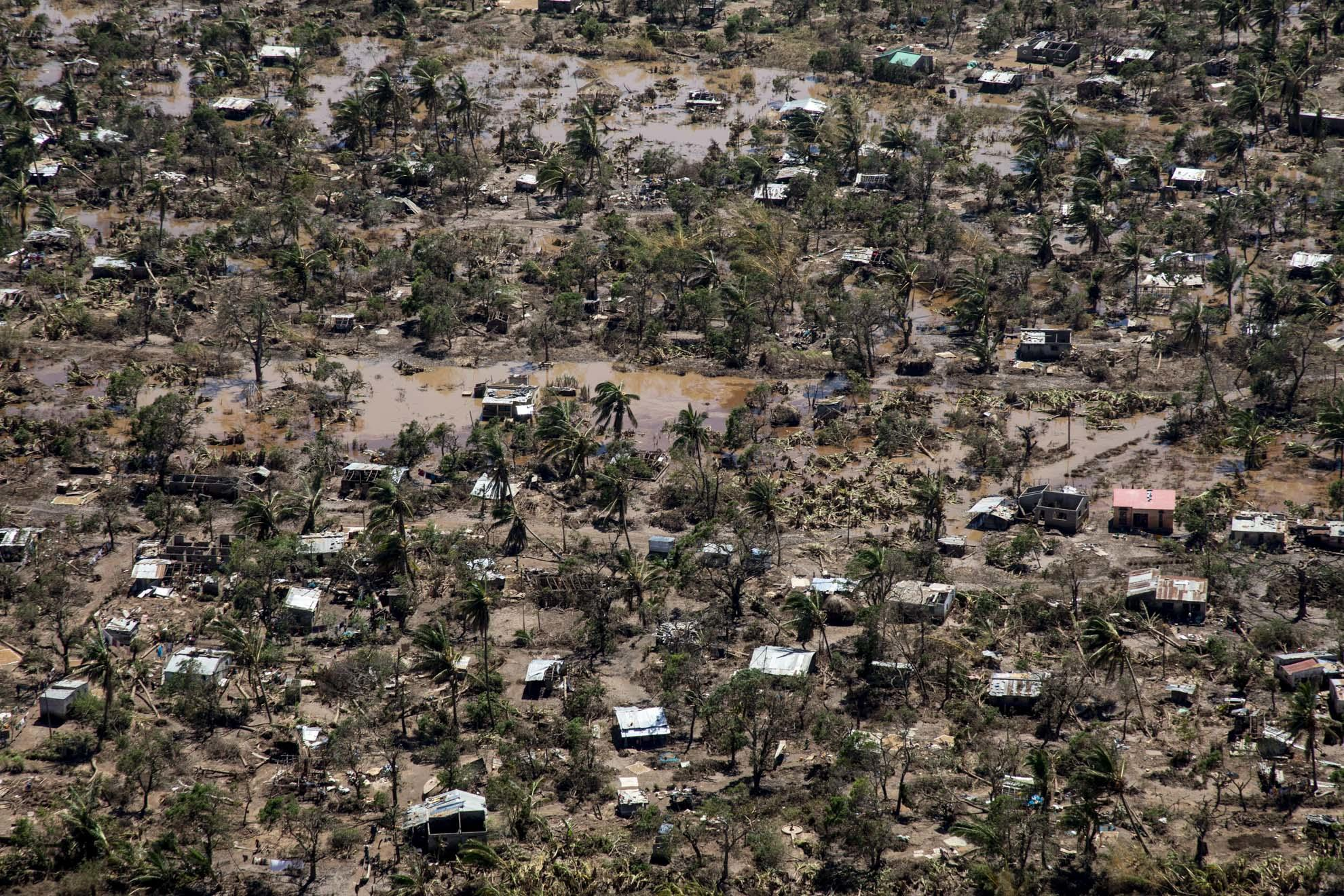 An aerial view of the town of Buzi and the devastation caused by Cyclone Idai in Mozambique, March 2019.
