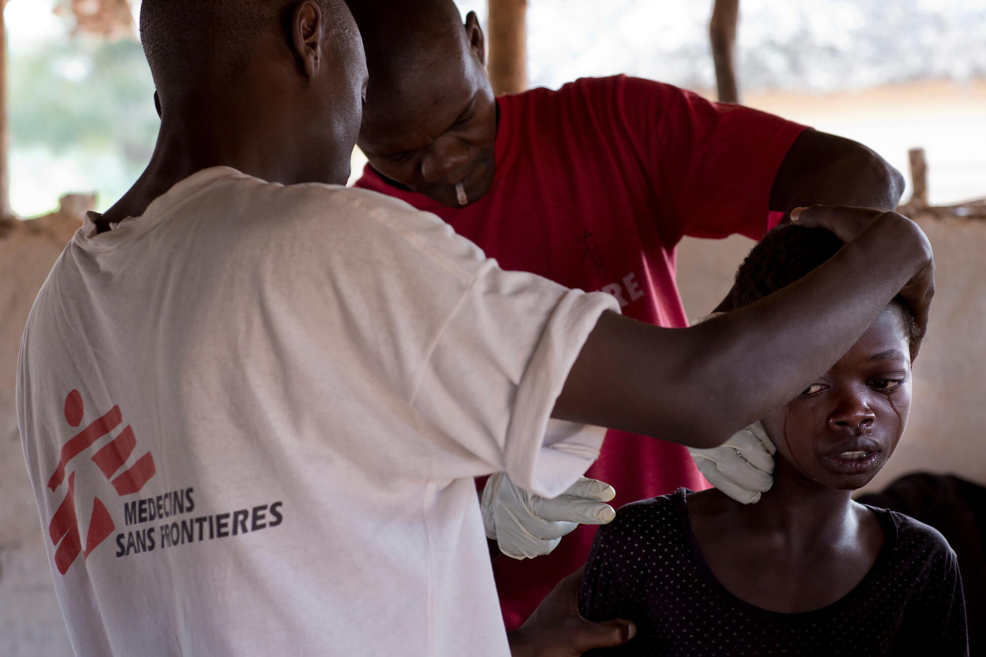 MSF staff run tests to diagnose sleeping sickness in DRC