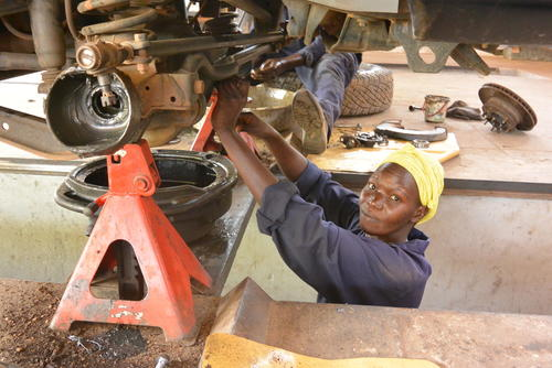 Poni Betty, the mechanic of Juba workshop