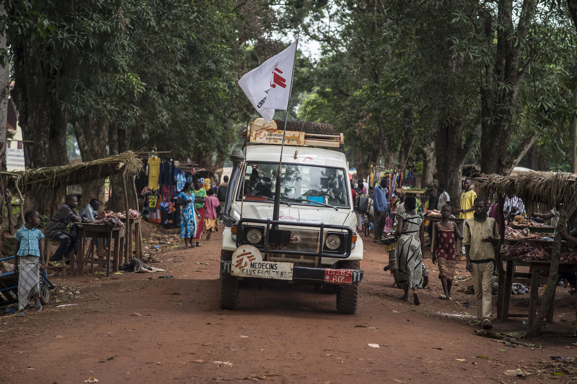 MSF Land Cruiser on the airport road in Bambari, Central African Republic