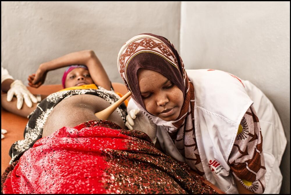 A pregnant woman has an antenatal check up at Fiq hospital , Somali region, Ethiopia