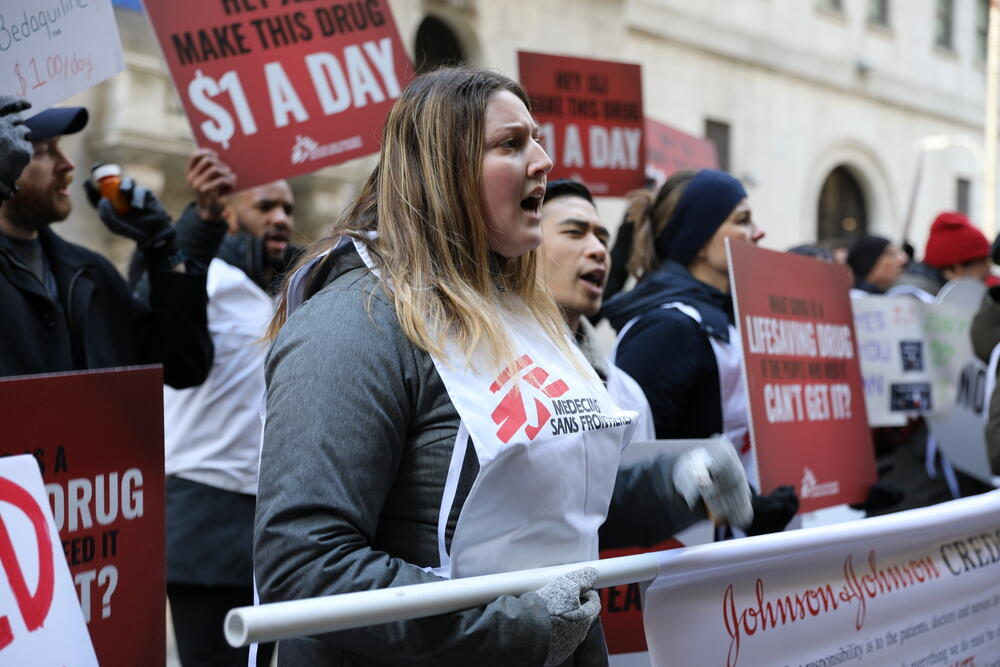 Protest: J&J release earnings at NY Stock Exchange 22/01/2020