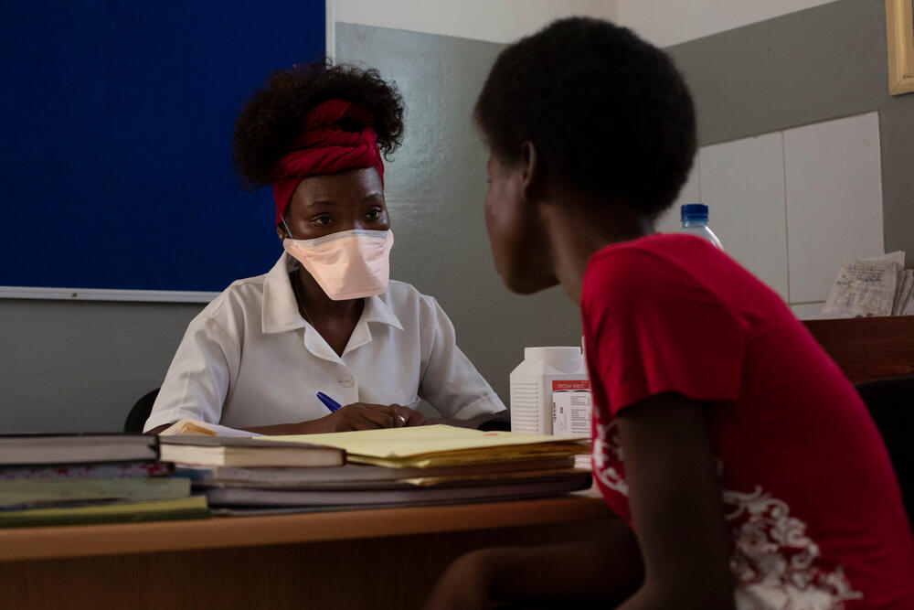 A consultation with an HIV positive patient after Cyclone Idai struck Beira, Mozambique