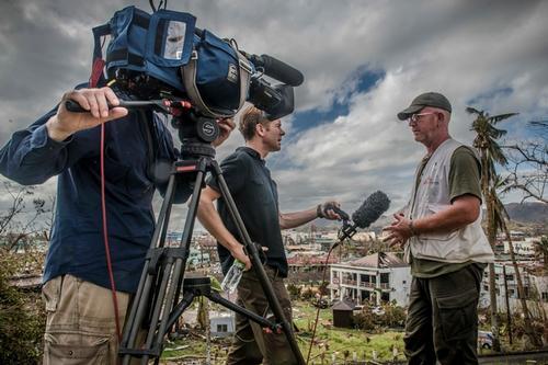 Logistician Damien Moloney being interviewed by CNN.