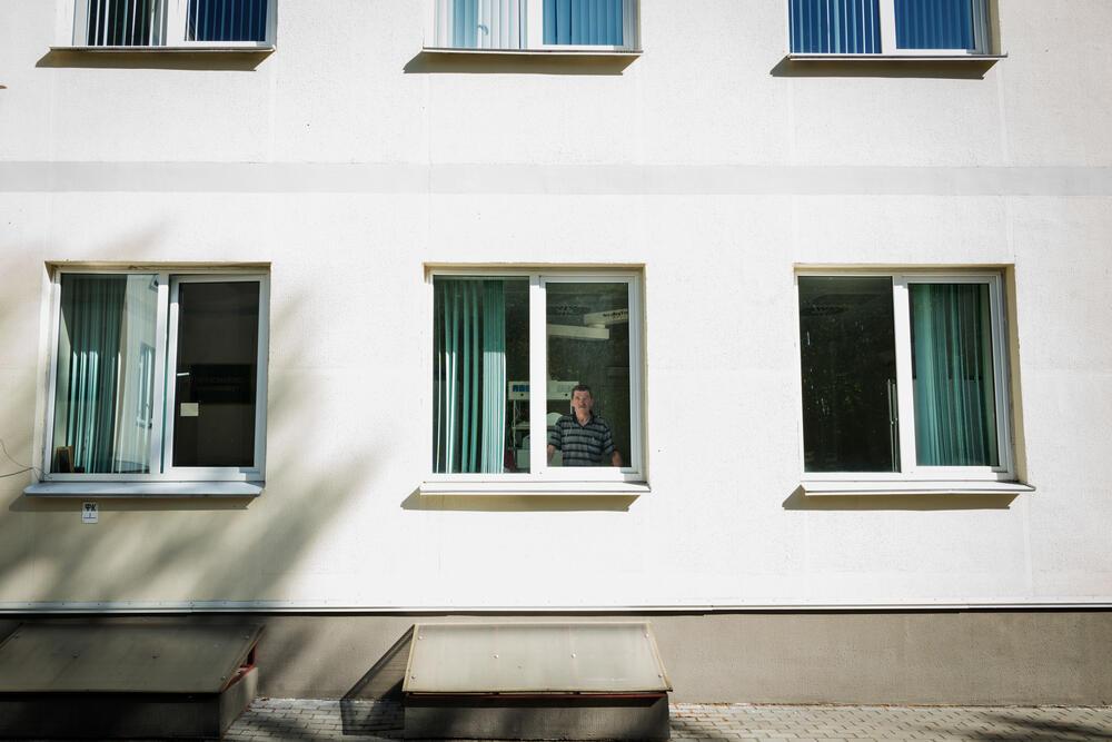 Leonid, a patient in the Intensive Care Unit, TB Institute in Minsk, Belarus.