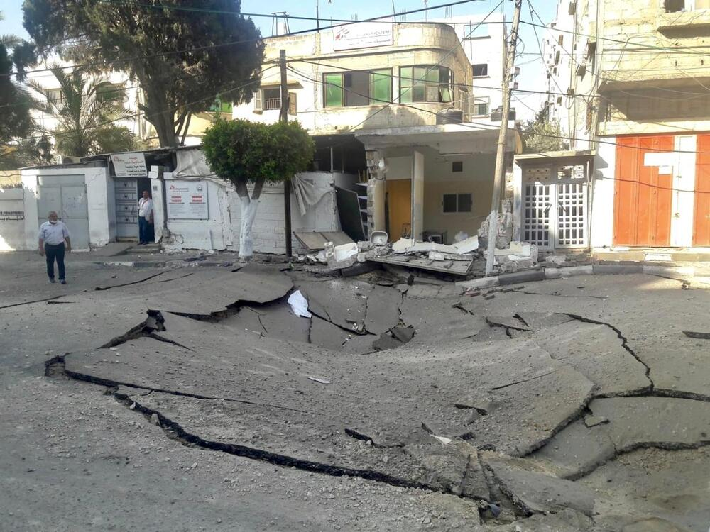 Damage to the area outside an MSF clinic caused by an Israeli airstrike in Gaza City