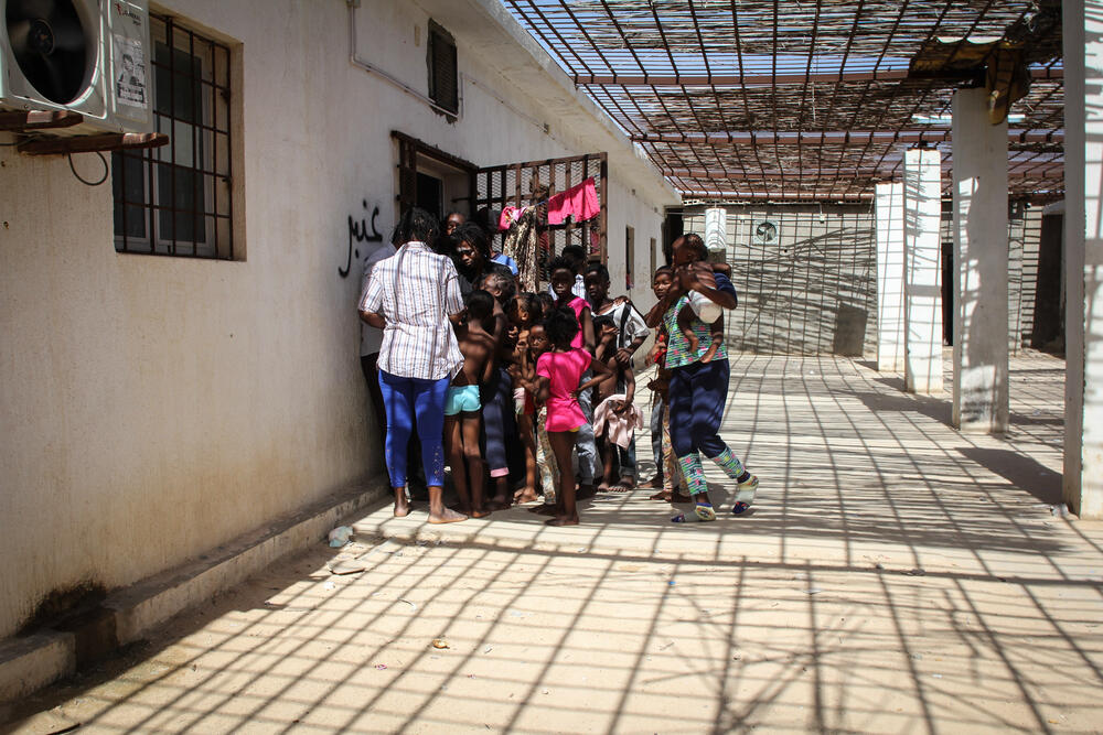 A group of women and children detained in Khoms, September 2018