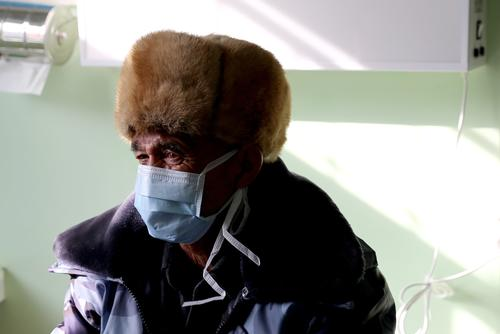 A TB patient at a medical consultation in Kyrgyzstan