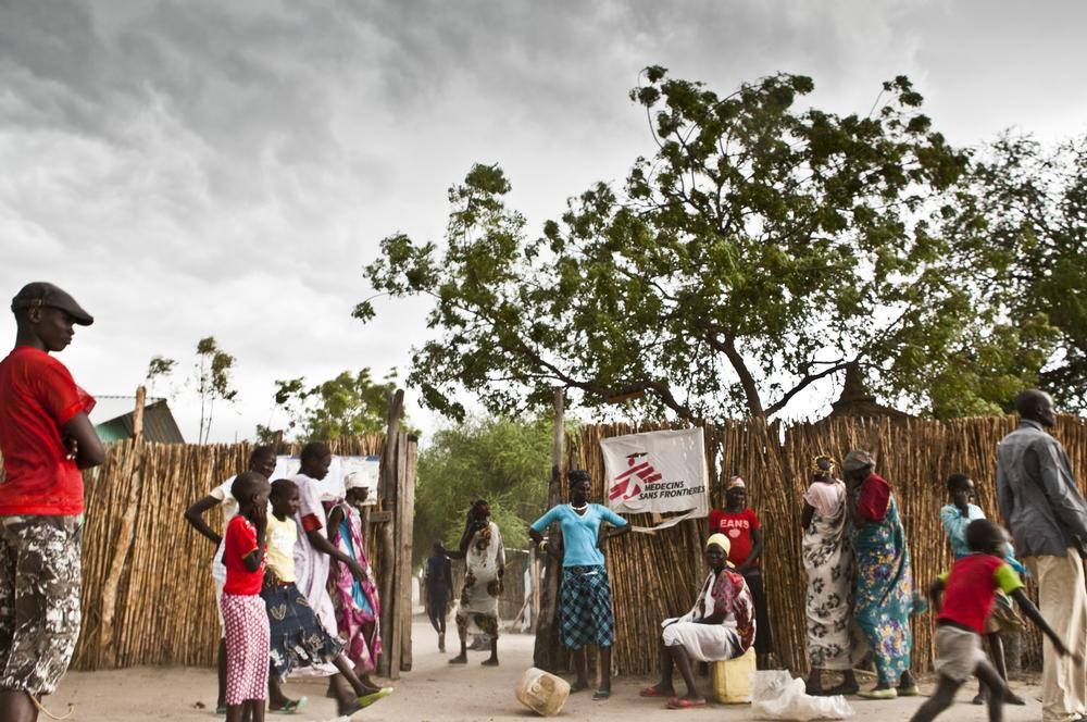 Patients outside the main entrance of the MSF hospital in Lankien, South Sudan