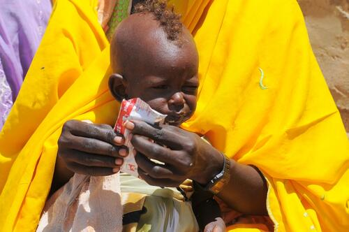 A child is fed in Chad