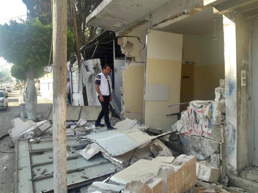 Damage sustained to the MSF clinic that usually treats trauma and burn patients