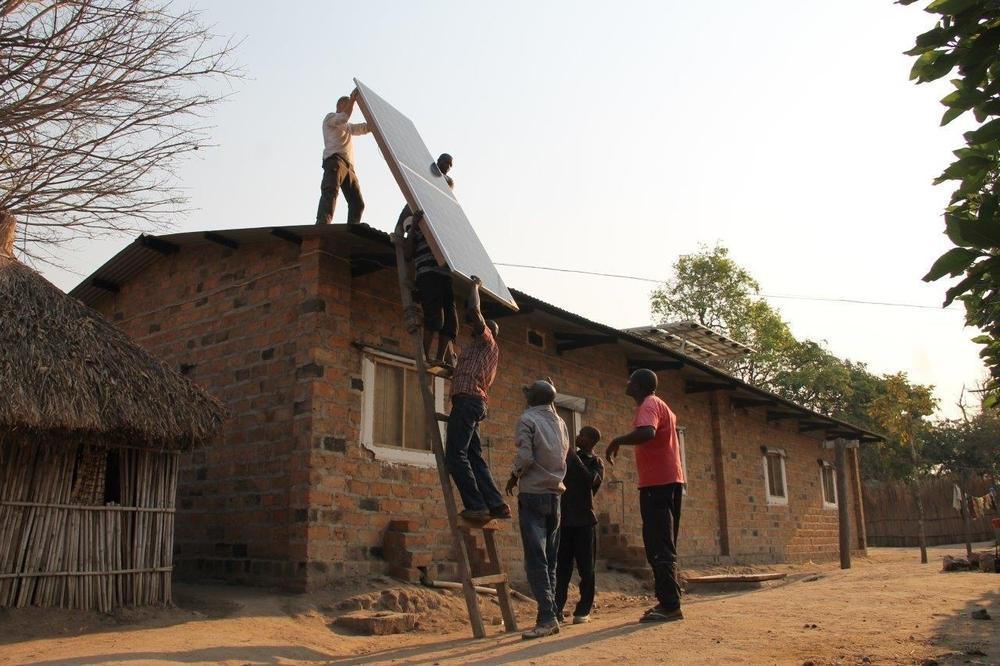 Solar panels on roof Shamwana hospital Congo DRC