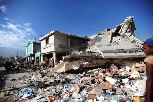 Collapsed building and rubble in Port-au-Prince city centre.