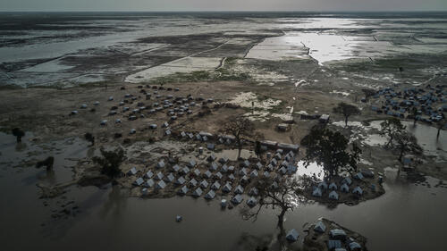 An aerial view of Rann - a displacement camp in Nigeria - during the rainy season