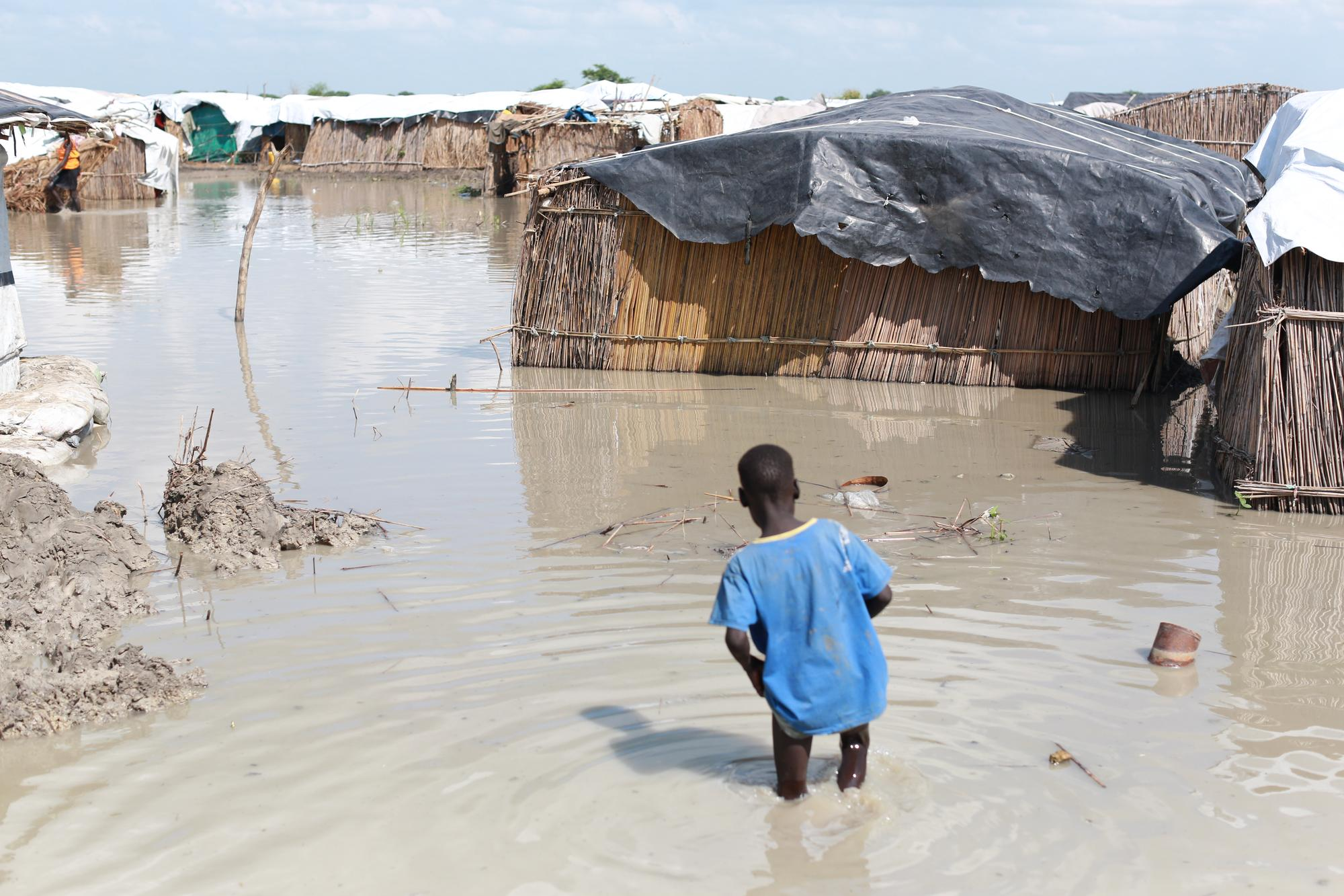 Flooding inside the UN Internally Displaced People's camp in Bentiu, South Sudan