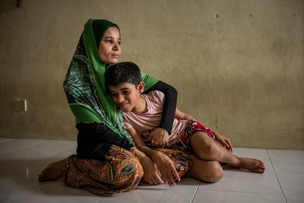 Rohingya refugee Aziza with her son Niyamattulah