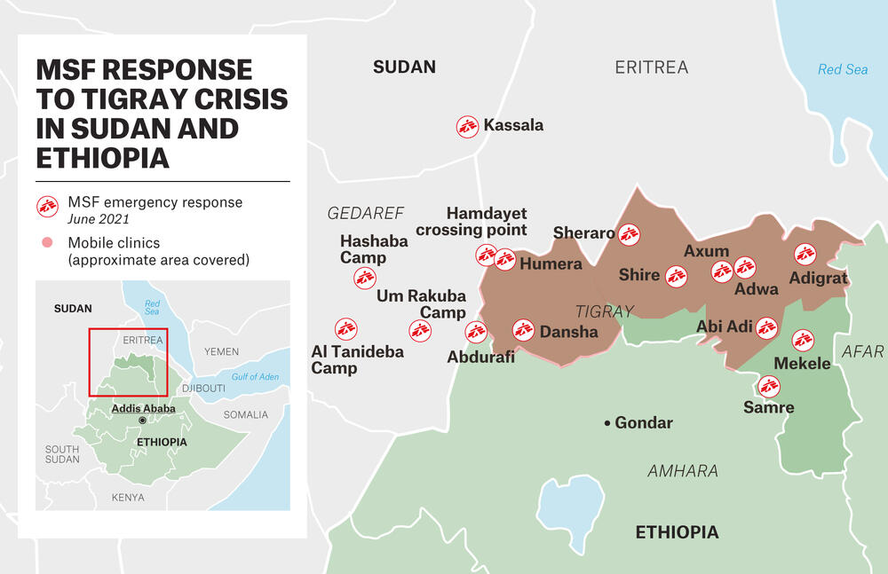 A map of MSF's response to the Tigray crisis