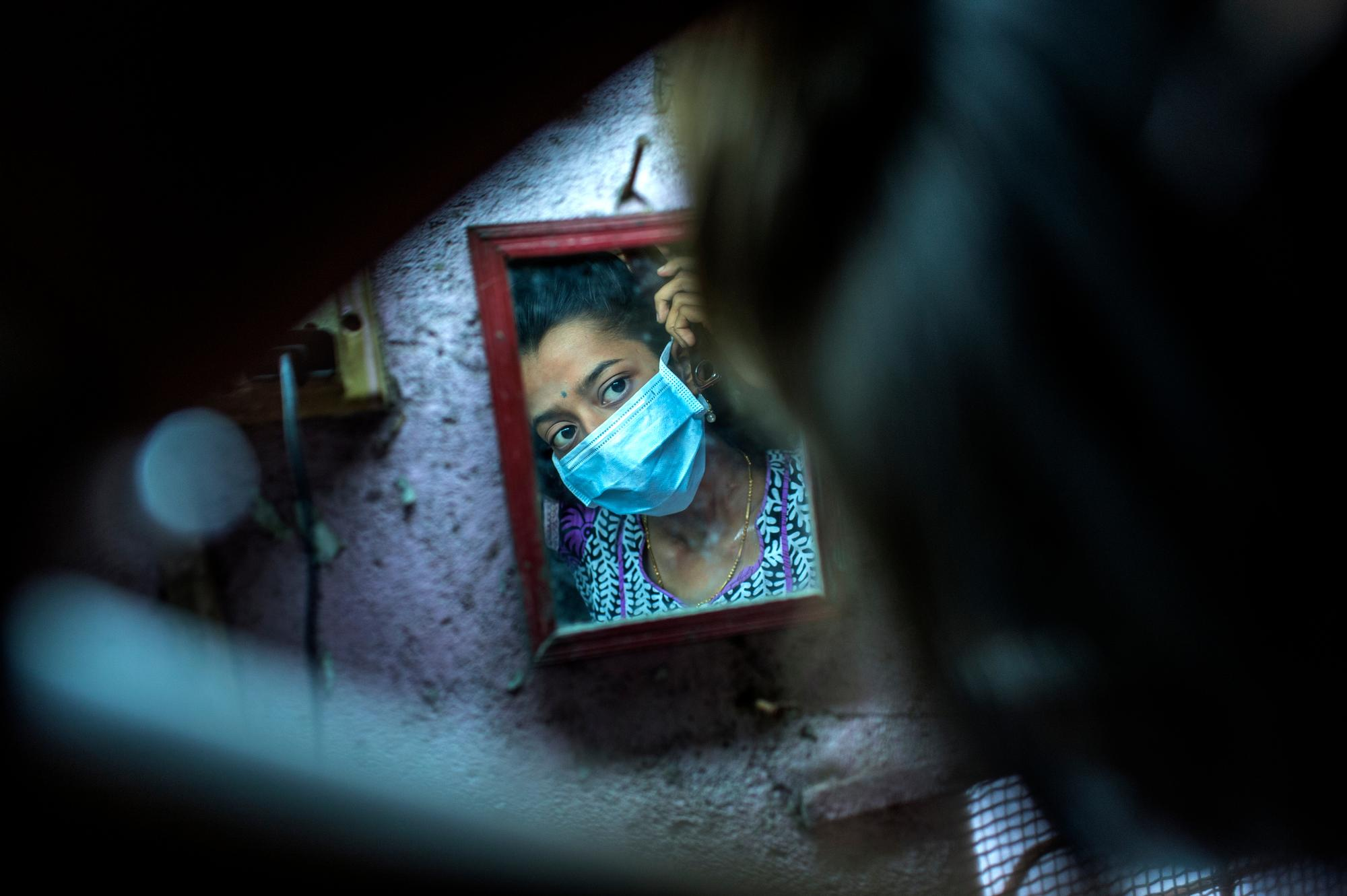 XDR-TB patient Nischaya, at home in the Ambedkar Nagar area of Mumbai.
