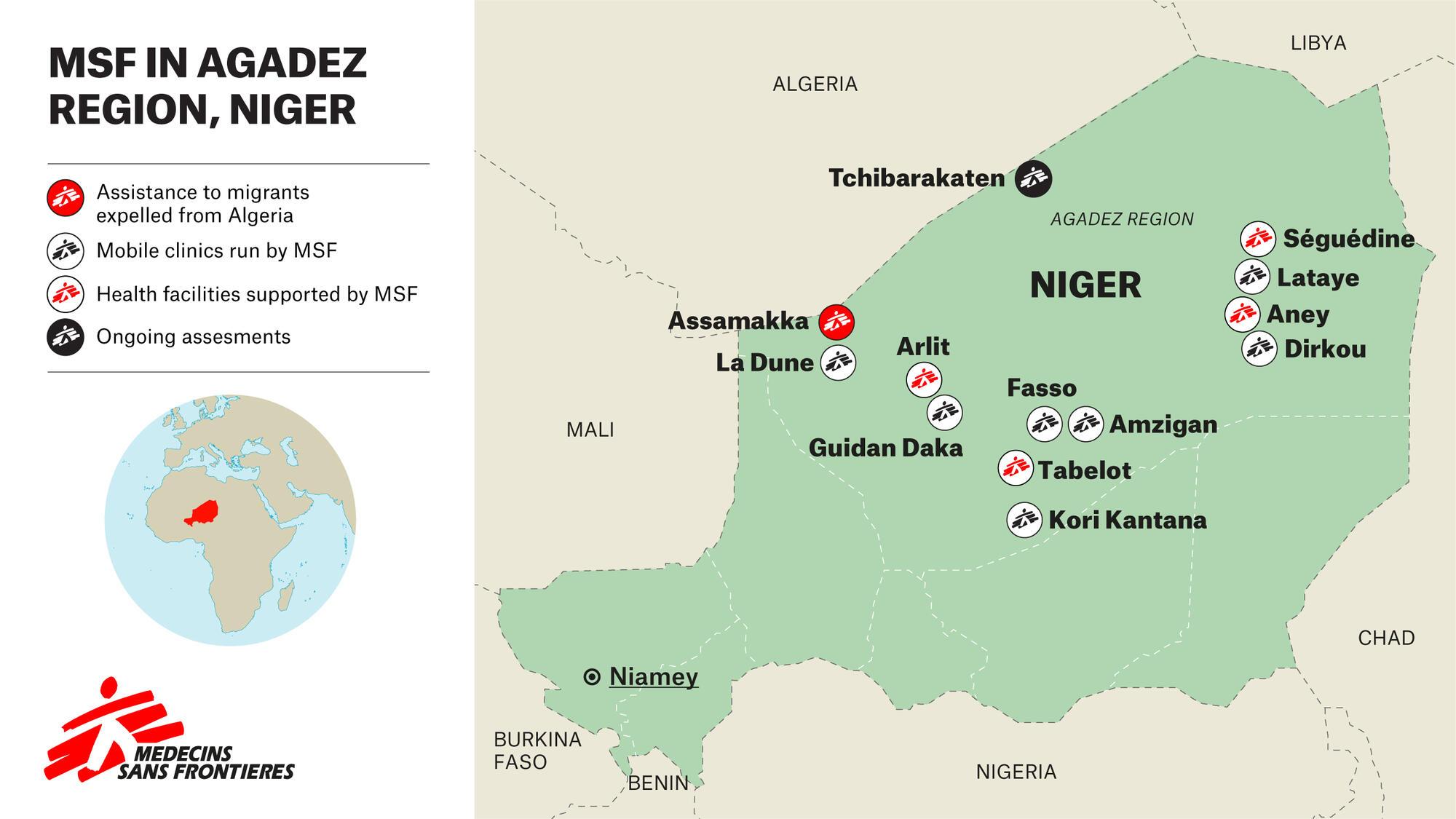 MSF in Agadez region, Niger - Map - ENG