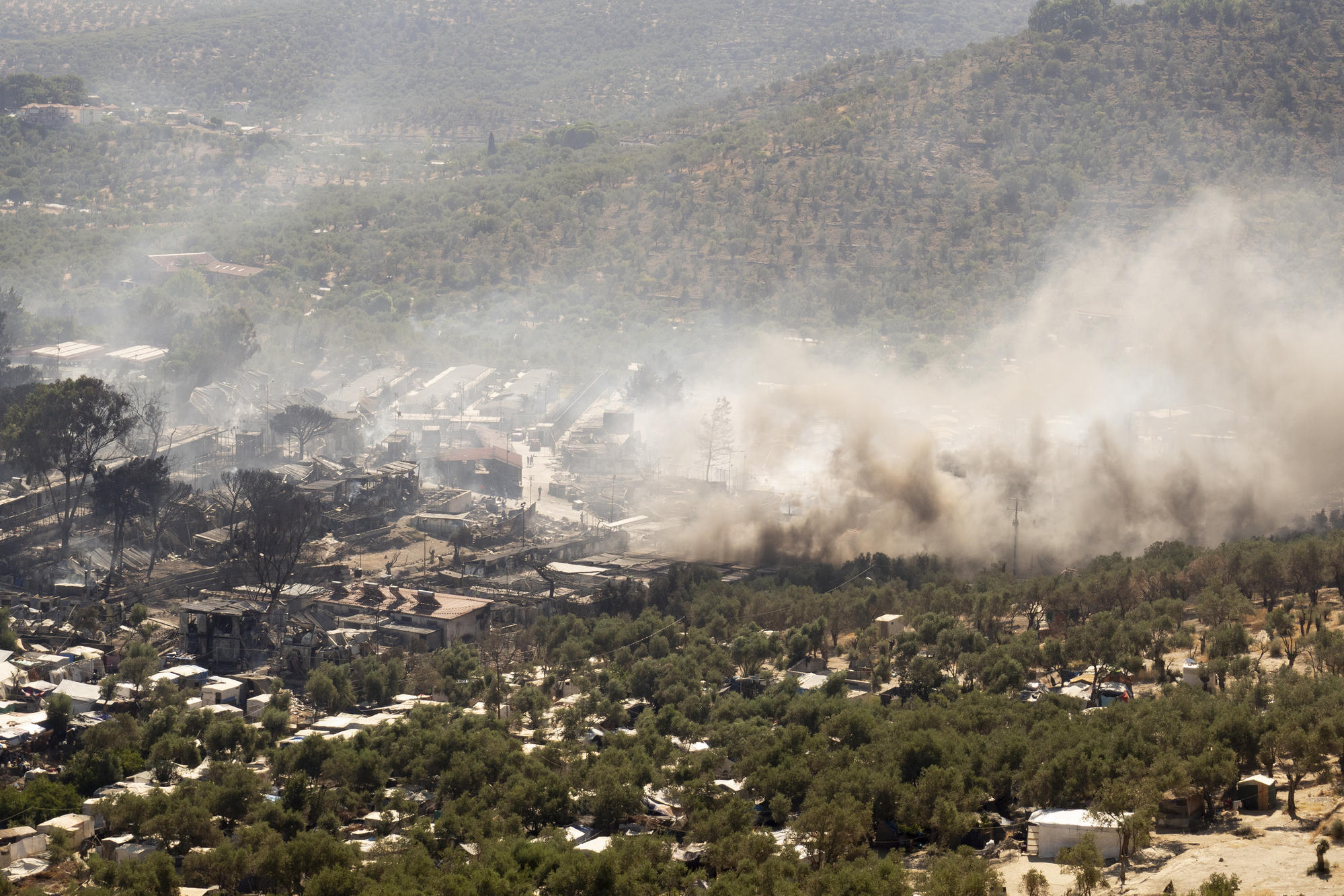 Aerial view of the fire that destroyed the camp