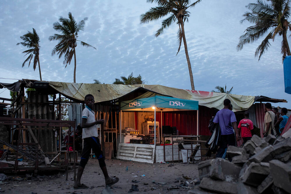 A makeshift bar among the rubble in Beira, Mozambique, after Cyclone Idai