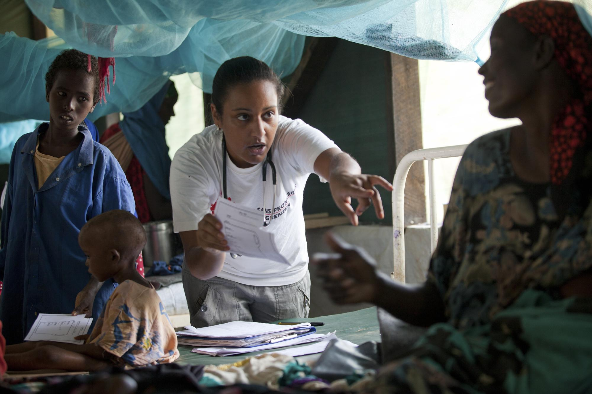 MSF Doctor Luana Lima seeing patients at the MSF hospital in  Dadaab refugee camp in northern Kenya