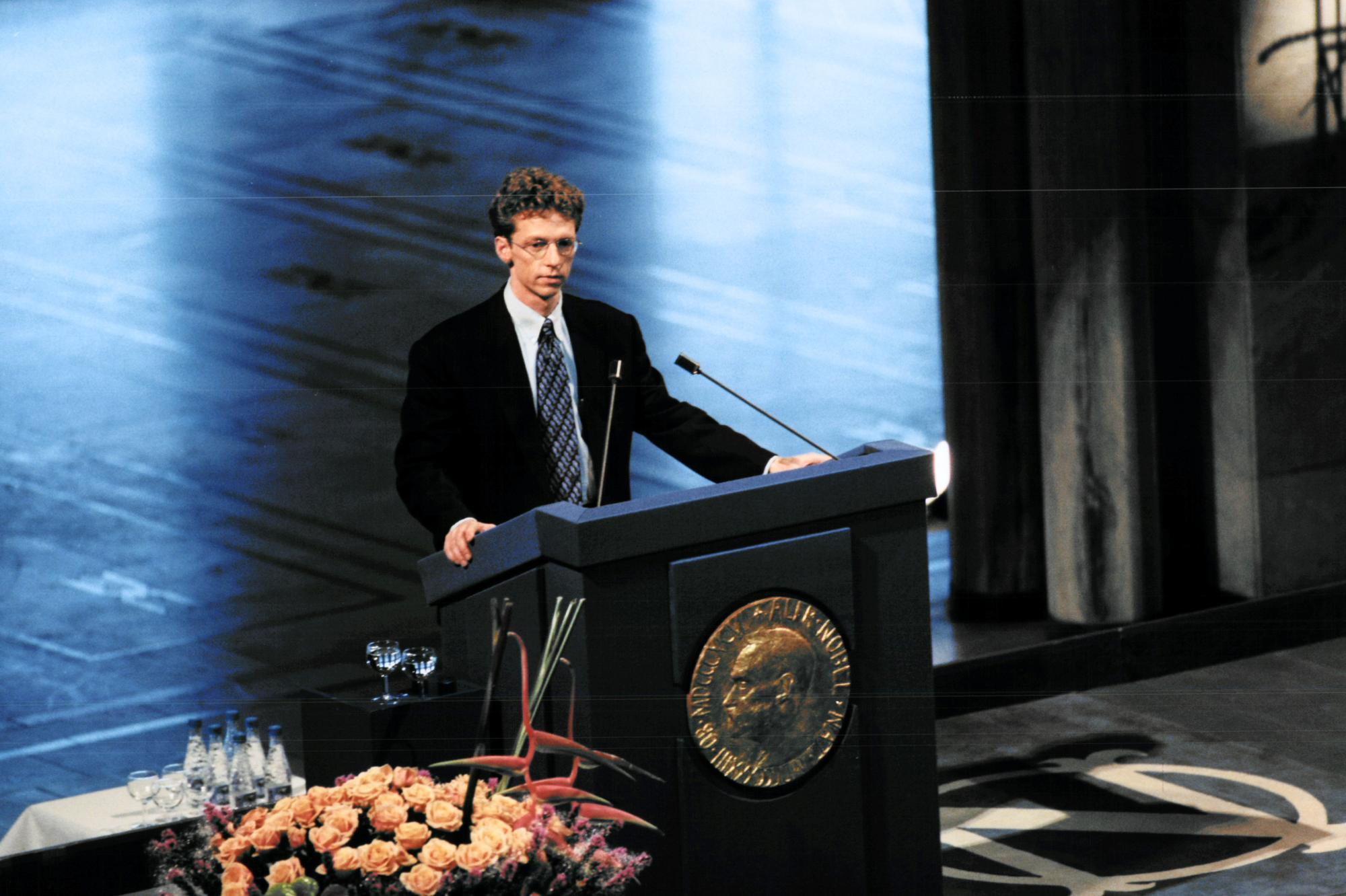 Dr James Orbinski accepts the 1999 Nobel Peace Prize on behalf of MSF