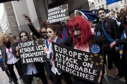 Activists from across Europe stage flashmob in front of the European Parliament