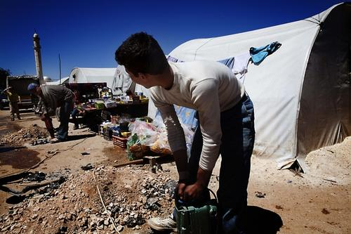 Transit camp in Aleppo province