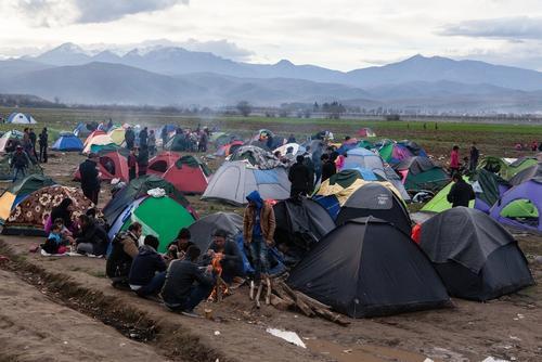 Overcrowded transit camp in Idomeni