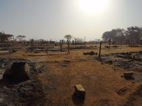 Batangafo IDP camp fire