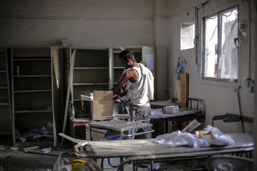 Abs hospital airstrike aftermath, Hajjah, Yemen
