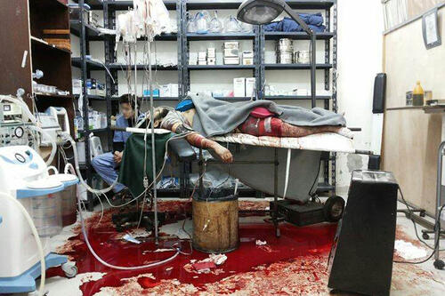 syria in a besieged hospital sleeping and resting were