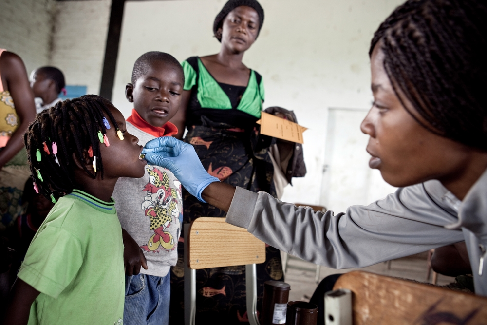 A vaccination campaign against measles in Lubumbashi.