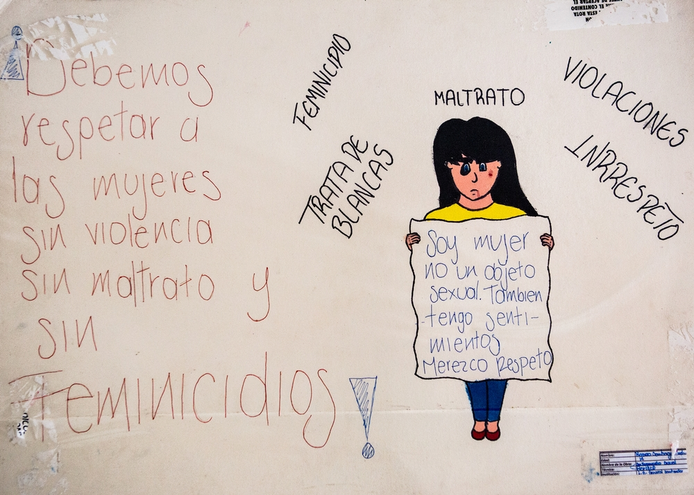 This drawing was made by the winner the 16 Days of No Violence Against Women Campaign at schools in Tumaco.