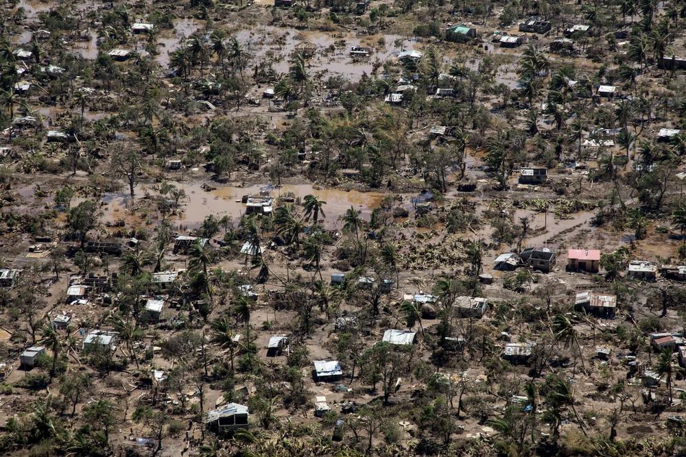 Vue aérienne de Buzi et des ravages causés par le cyclone Idai.