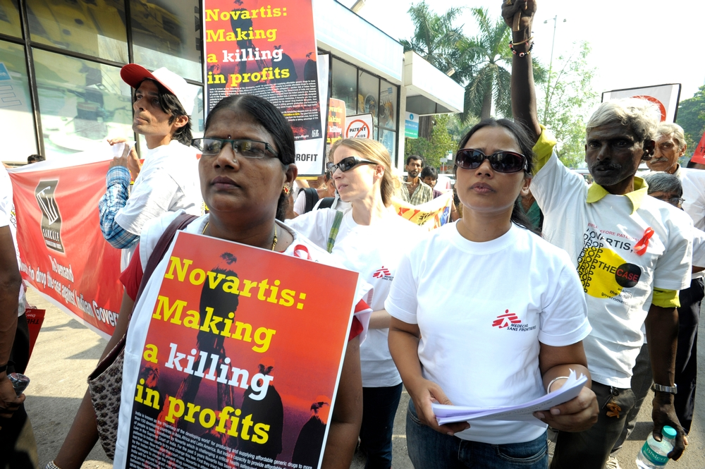 A protest organised by Indian civil society on World AIDS Day, 1 December 2011, in front of Novartis' Mumbai Office
