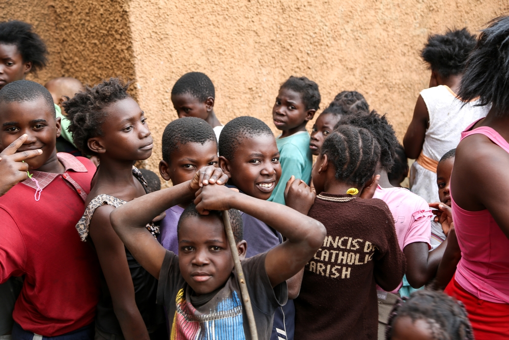 Children waiting to be vaccinated at St Joseph Church, one of the 15 vaccination sites in Kanyama district.
