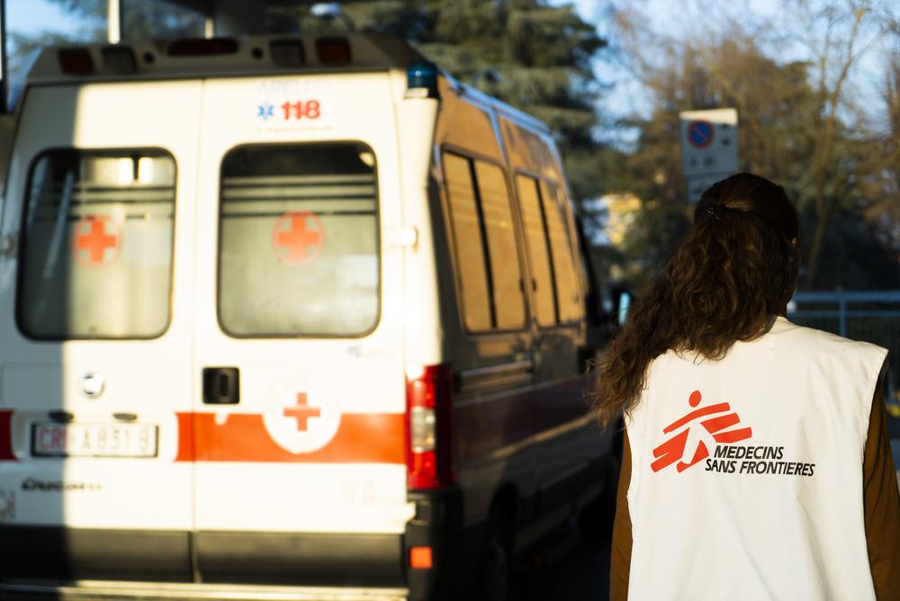 Carlotta Berutti, coordinator of MSF's COVID-19 project in Lodi province, Italy, outside Codogno hospital.