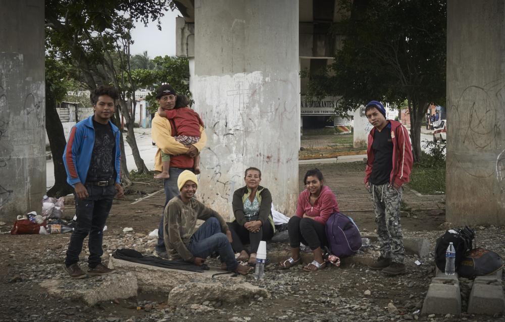Migrants à Nuevo Ladero, Mexique.