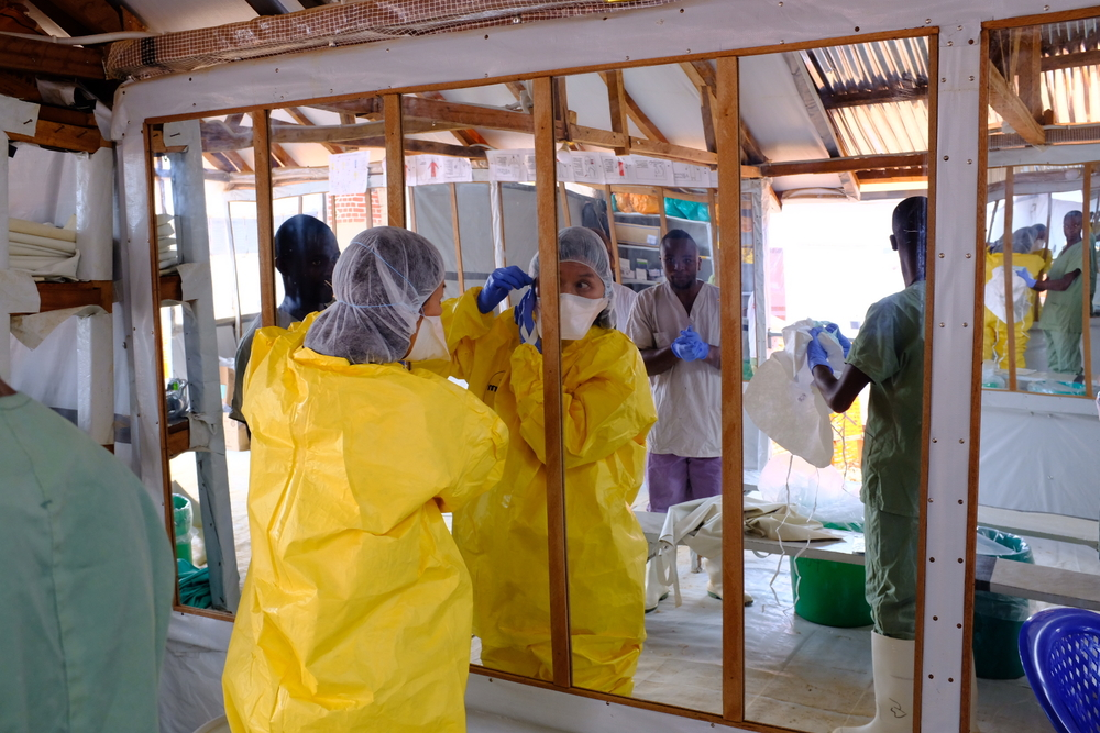 Joanne Liu, International President, visiting the Ebola treatment center in Butembo, DR Conco.