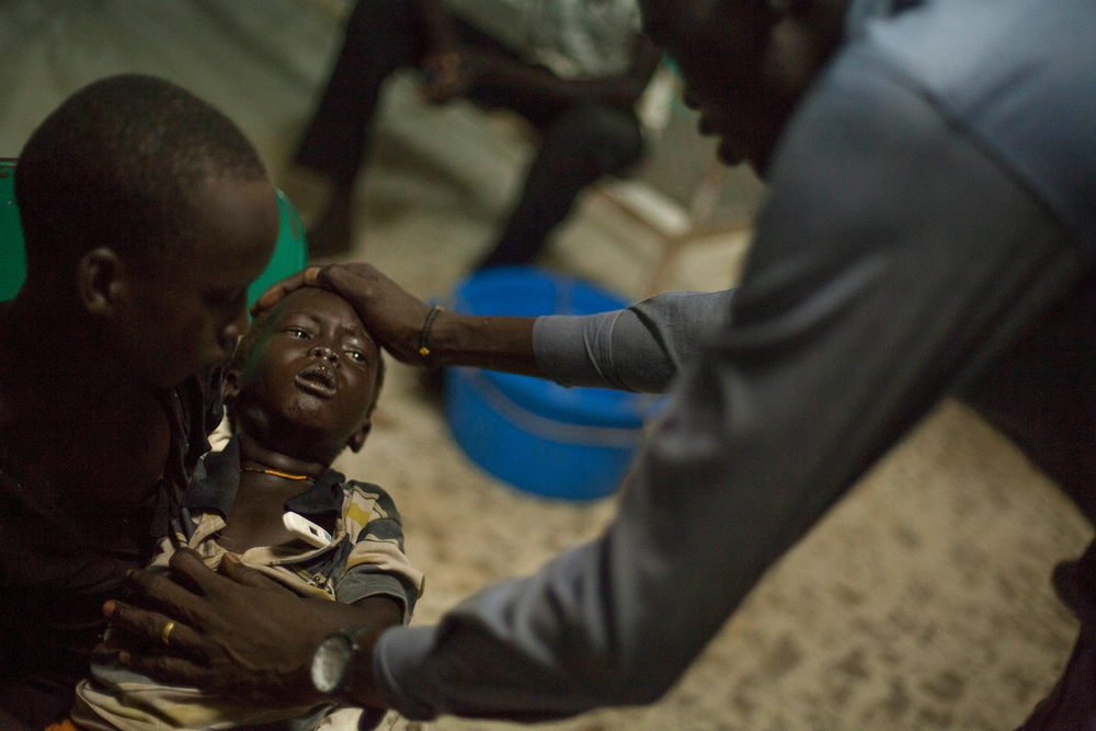 A three-year-old boy tested positive for malaria. He had a fever of 39.7 when his family brought him into the hospital at Bentiu POC in September 2015.