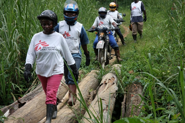 A mobile clinic around Pinga in North Kivu. MSF teams travel on motorbike to get to hard-to-reach areas.