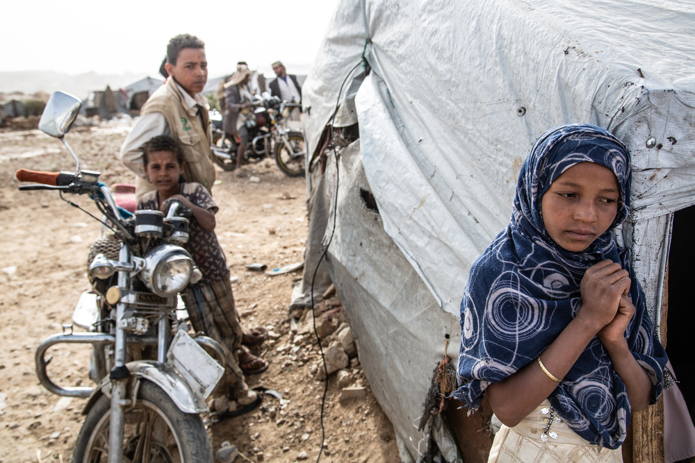 Yemen, Amran governorate, Khamer, 24 April 2019 - Dahadh camp is located in Khamer, Amran governorate, 1 km southeast of the city centre, near the Qat market. 410 families, around 3430 persons, have been living inside the camp since 2015, the beginning of