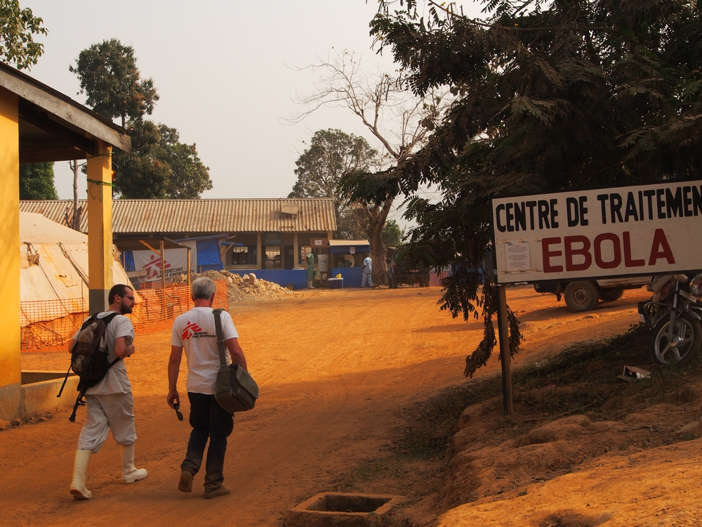 The entrance to the Gueckedou Ebola management centre in Guinea.