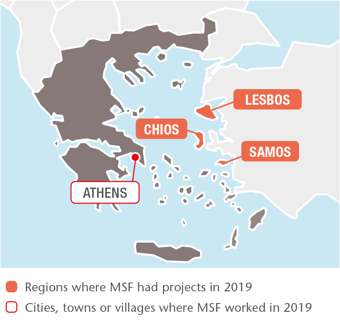Map with all MSF projects in 2019