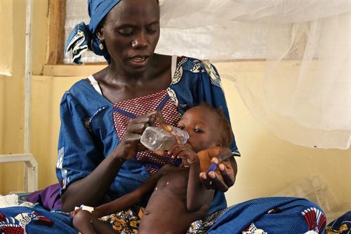 فايزا، تبلغ من العمر ٣٥ عاما، مع طفلتها فرداوسي. فايزا من ولاية بورنو، وقد قررت المجيء إلى النيجر للحصول على رعاية صحية لطفلتها المريضة.