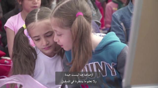 WEBCLIP: Sara & Shole, refugees set up school for kids at Piraeus port, Greece (ARABIC)