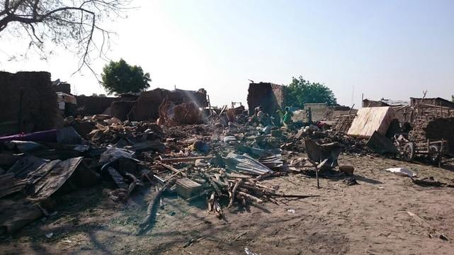 Aerial bombing of a displaced camp in Rann