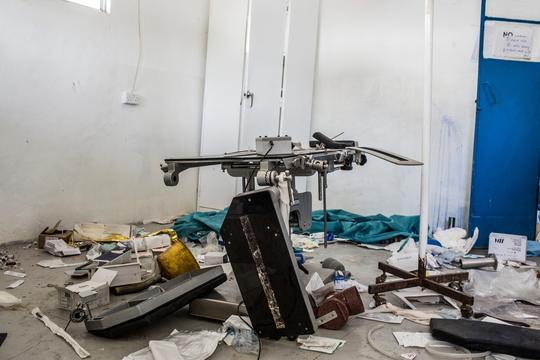 The destroyed and ransacked operating theater at the MSF hospital in Leer